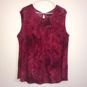 Lucky Brand NWT Red & Pink Floral Top
